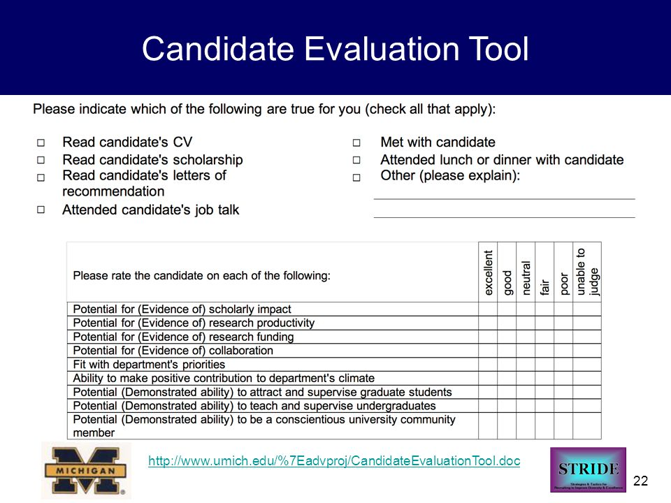 22 Candidate Evaluation Tool http://www.umich.edu/%7Eadvproj/CandidateEvaluationTool.doc