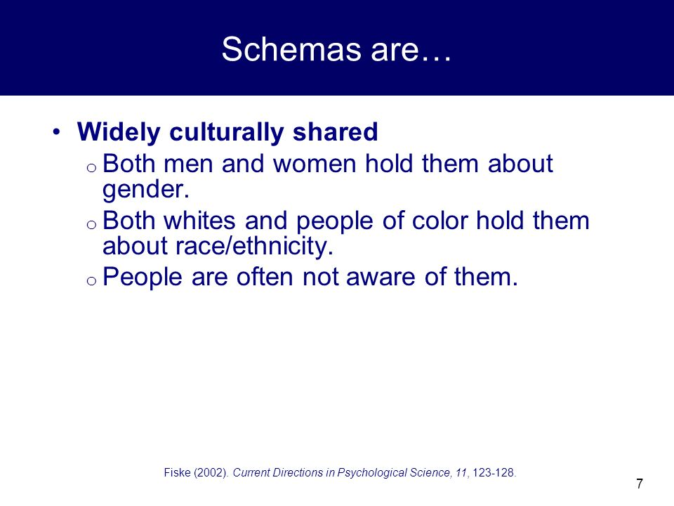 7 Schemas are… Widely culturally shared o Both men and women hold them about gender.