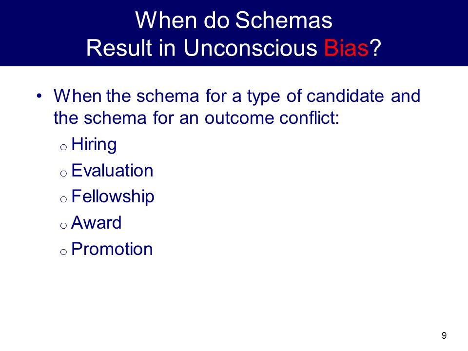 9 When do Schemas Result in Unconscious Bias.