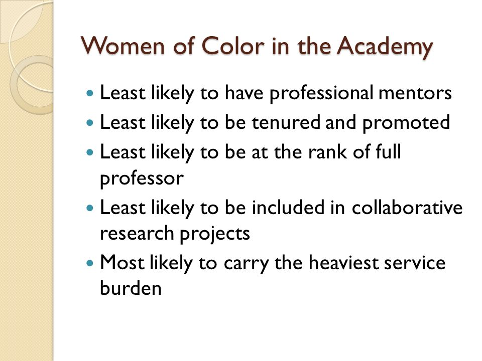 Women of Color in the Academy Least likely to have professional mentors Least likely to be tenured and promoted Least likely to be at the rank of full professor Least likely to be included in collaborative research projects Most likely to carry the heaviest service burden