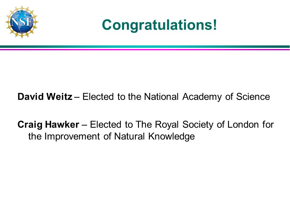 David Weitz – Elected to the National Academy of Science Craig Hawker – Elected to The Royal Society of London for the Improvement of Natural Knowledge Congratulations!
