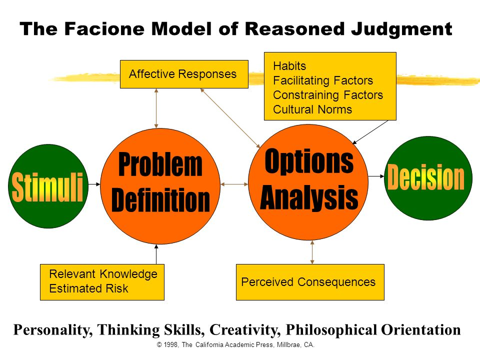 The Facione Model of Reasoned Judgment Relevant Knowledge Estimated Risk Affective Responses Perceived Consequences Habits Facilitating Factors Constr