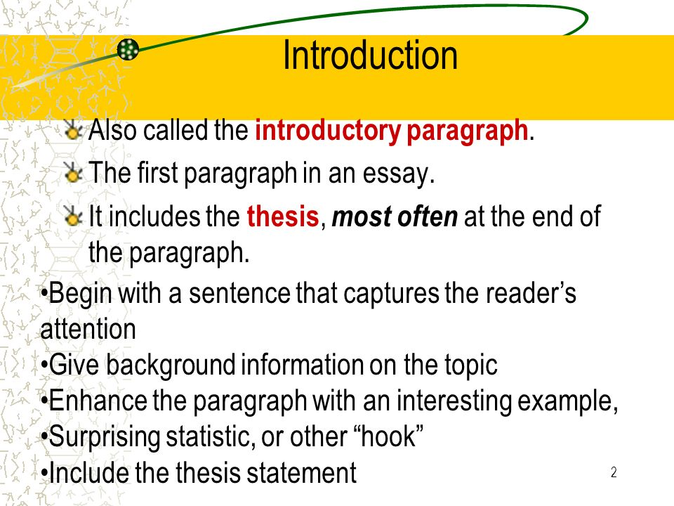 Introduction in a thesis