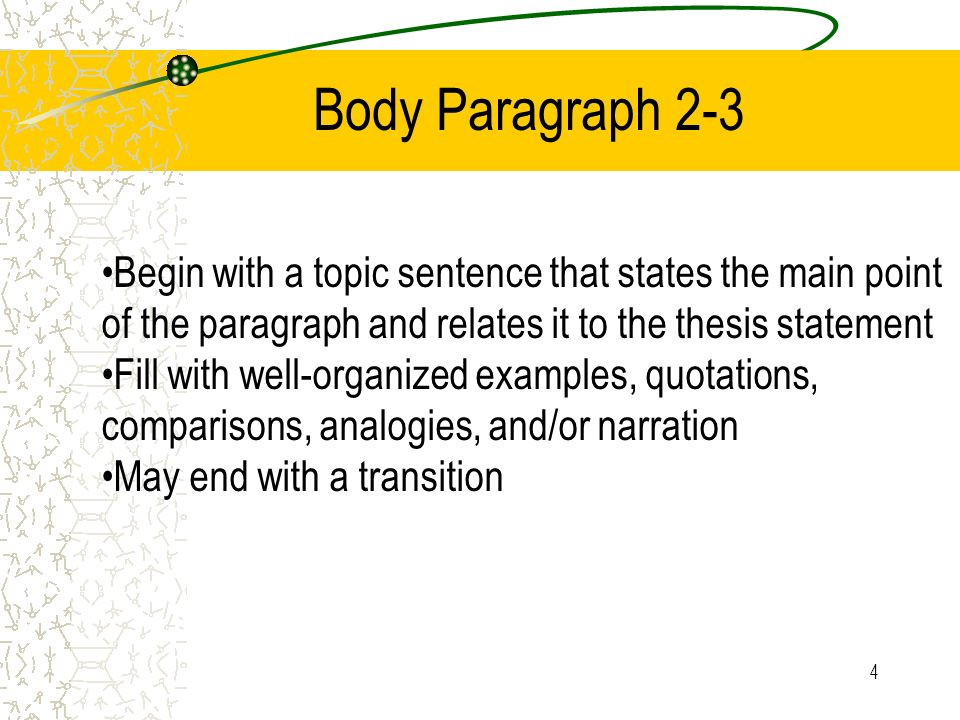4 Body Paragraph 2-3 Begin with a topic sentence that states the main point of the paragraph and relates it to the thesis statement Fill with well-org