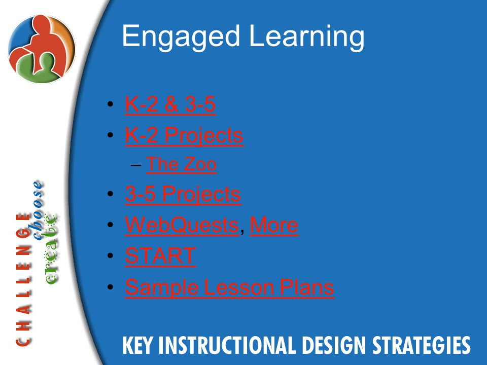 Engaged Learning K-2 & 3-5 K-2 Projects –The ZooThe Zoo 3-5 Projects WebQuests, MoreWebQuestsMore START Sample Lesson Plans