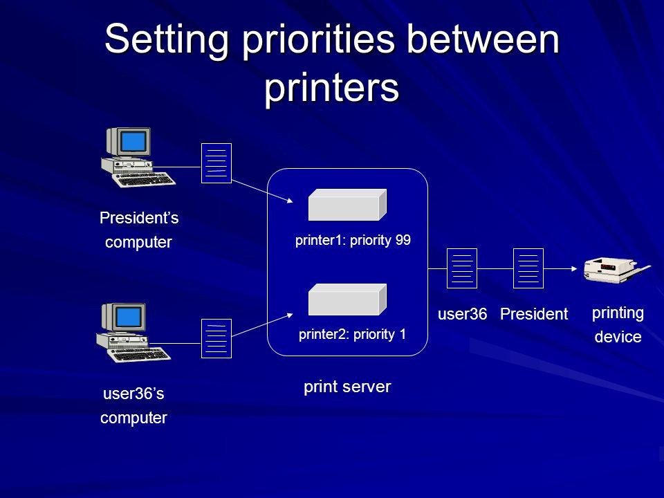 Setting priorities between printers printer1: priority 99 printer2: priority 1 user36s computer Presidents computer user36President printing device pr