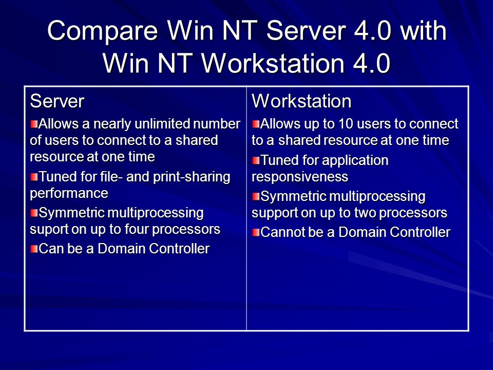 Compare Win NT Server 4.0 with Win NT Workstation 4.0 Server Allows a nearly unlimited number of users to connect to a shared resource at one time Tun