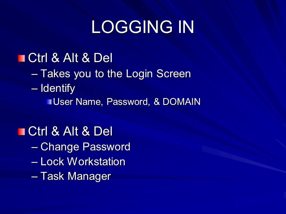 LOGGING IN Ctrl & Alt & Del –Takes you to the Login Screen –Identify User Name, Password, & DOMAIN Ctrl & Alt & Del –Change Password –Lock Workstation