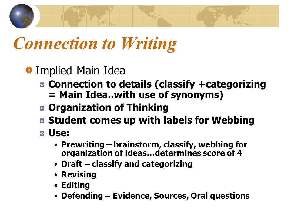 Connection to Writing Implied Main Idea Connection to details (classify +categorizing = Main Idea..with use of synonyms) Organization of Thinking Student comes up with labels for Webbing Use: Prewriting – brainstorm, classify, webbing for organization of ideas…determines score of 4 Draft – classify and categorizing Revising Editing Defending – Evidence, Sources, Oral questions