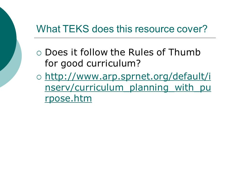 What TEKS does this resource cover. Does it follow the Rules of Thumb for good curriculum.