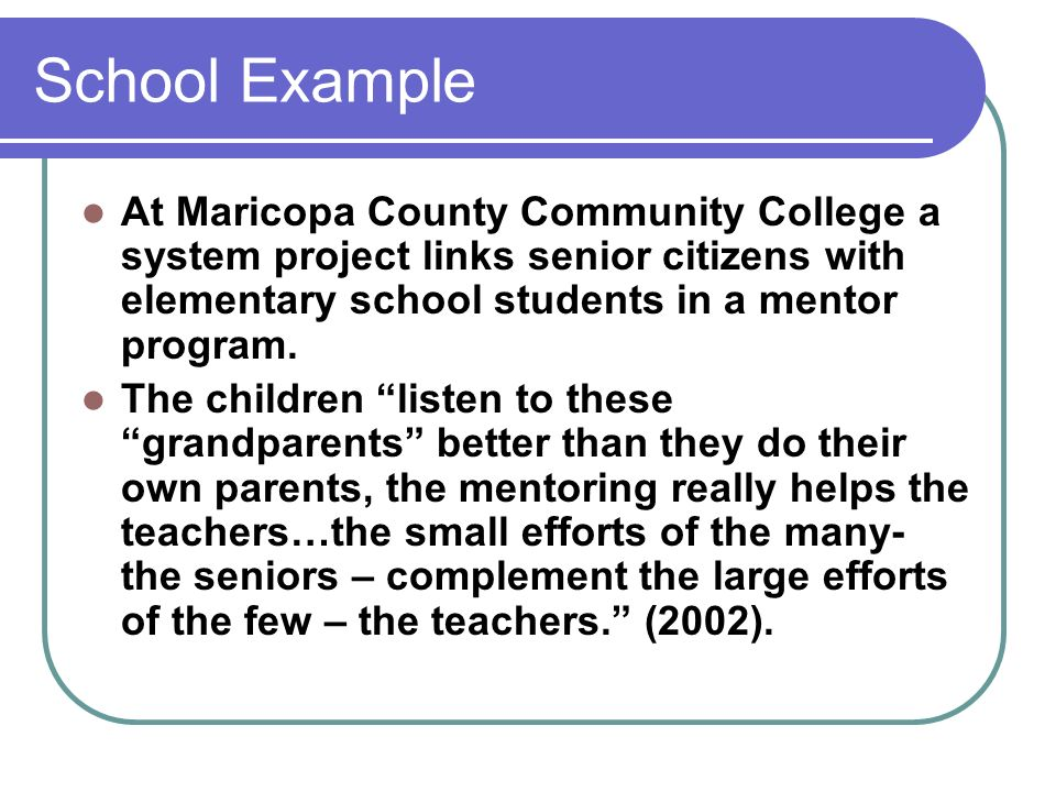 School Example At Maricopa County Community College a system project links senior citizens with elementary school students in a mentor program. The ch