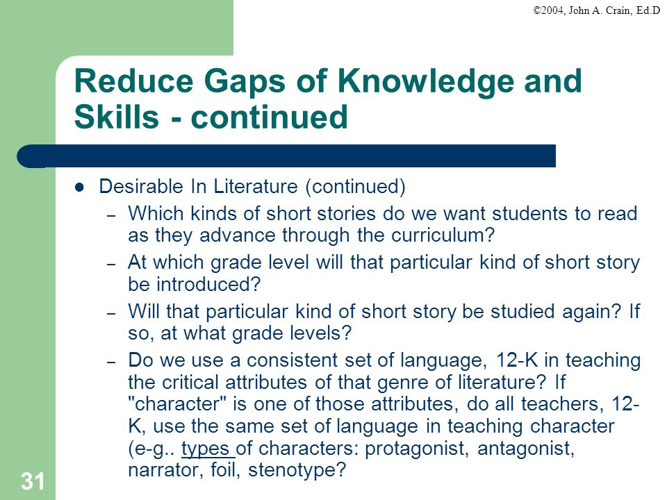 ©2004, John A. Crain, Ed.D 31 Reduce Gaps of Knowledge and Skills - continued Desirable In Literature (continued) – Which kinds of short stories do we