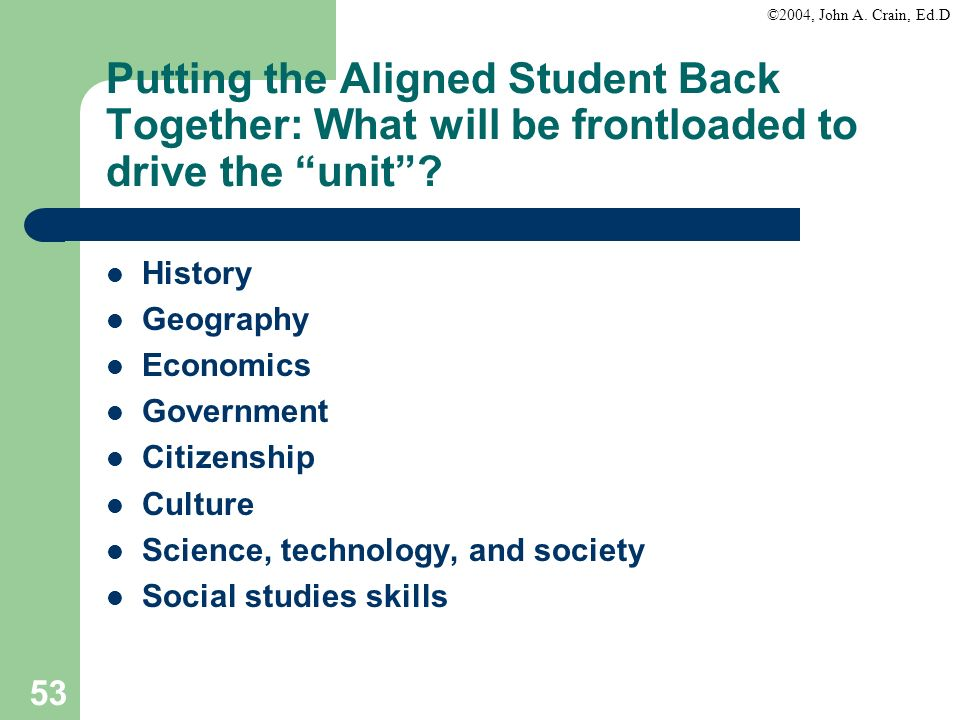 ©2004, John A. Crain, Ed.D 53 Putting the Aligned Student Back Together: What will be frontloaded to drive the unit? History Geography Economics Gover