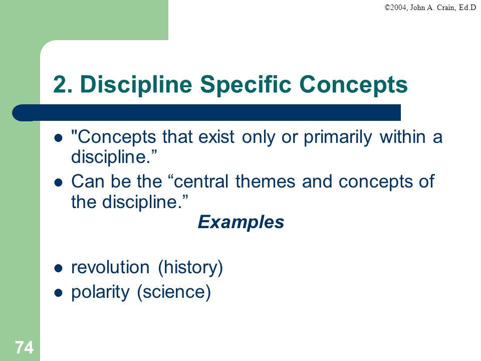 ©2004, John A. Crain, Ed.D 74 2. Discipline Specific Concepts