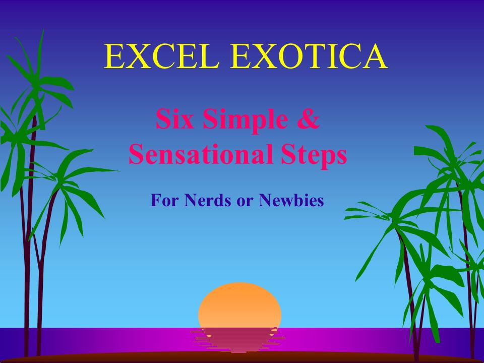 EXCEL EXOTICA Six Simple & Sensational Steps For Nerds or Newbies
