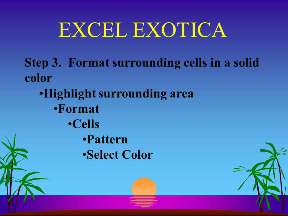 EXCEL EXOTICA Step 3.