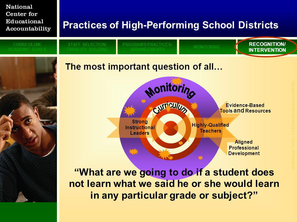 CURRICULUM/ ACADEMIC GOALS STAFF SELECTION/ CAPACITY BUILDING PROGRAMS/PRACTICES/ ARRANGEMENTS MONITORING RECOGNITION/ INTERVENTION © National Center for Educational Accountability Strong Instructional Leaders Highly-Qualified Teachers Aligned Professional Development Evidence-Based Tools and Resources What are we going to do if a student does not learn what we said he or she would learn in any particular grade or subject.
