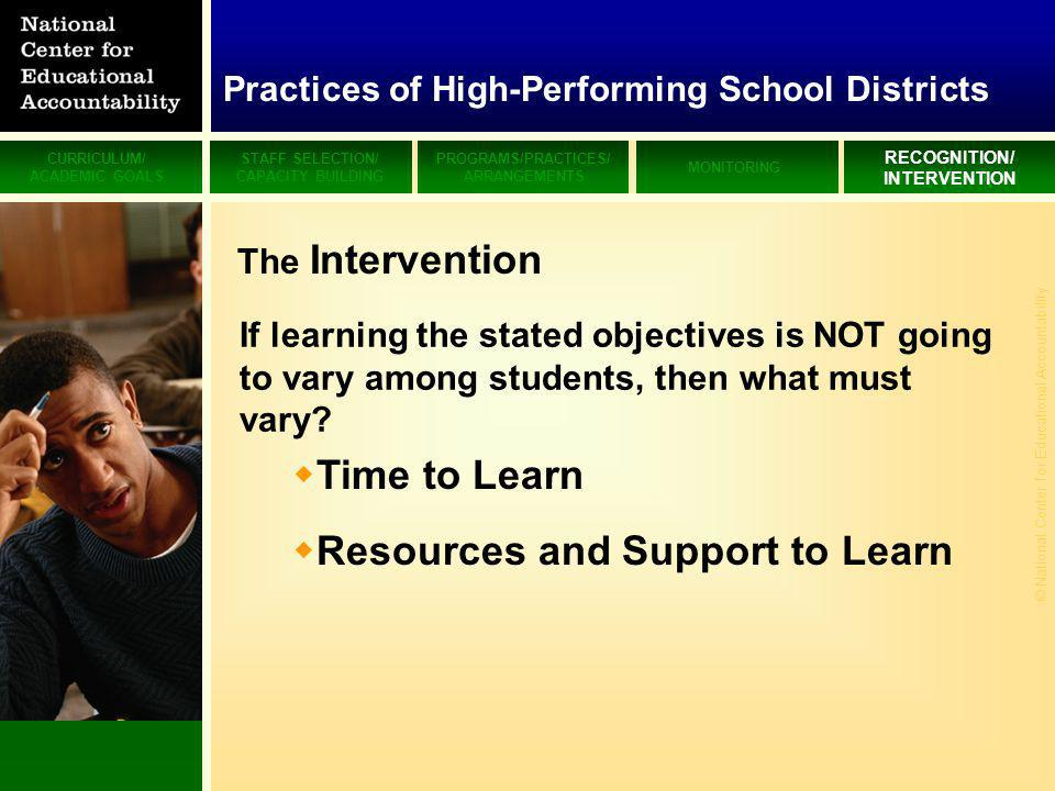 CURRICULUM/ ACADEMIC GOALS STAFF SELECTION/ CAPACITY BUILDING PROGRAMS/PRACTICES/ ARRANGEMENTS MONITORING RECOGNITION/ INTERVENTION © National Center for Educational Accountability Time to Learn Resources and Support to Learn If learning the stated objectives is NOT going to vary among students, then what must vary.