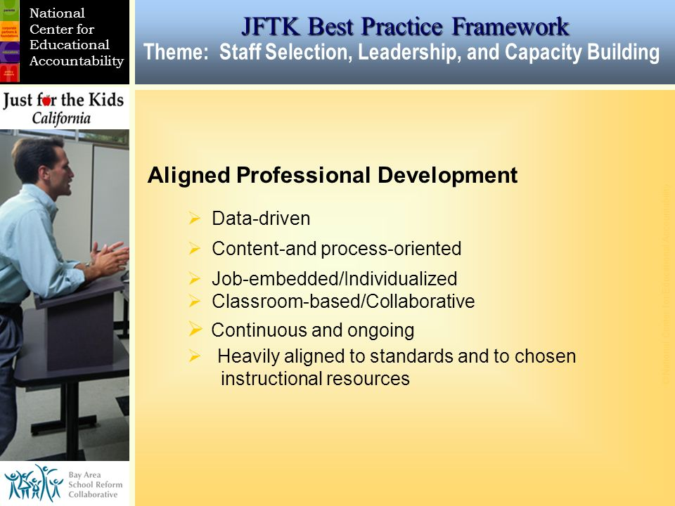 CURRICULUM/ ACADEMIC GOALS © National Center for Educational Accountability DISTRICT SCHOOL CLASSROOM National Center for Educational Accountability Aligned Professional Development Data-driven Content-and process-oriented Job-embedded/Individualized Classroom-based/Collaborative Continuous and ongoing Heavily aligned to standards and to chosen instructional resources JFTK Best Practice Framework Theme: Staff Selection, Leadership, and Capacity Building