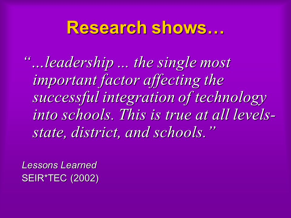 Research shows… …leadership...