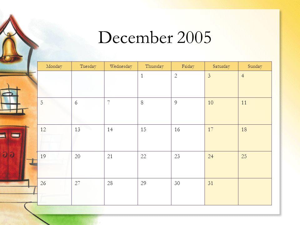 December 2005 MondayTuesdayWednesdayThursdayFridaySaturdaySunday 1234 567891011 12131415161718 19202122232425 262728293031
