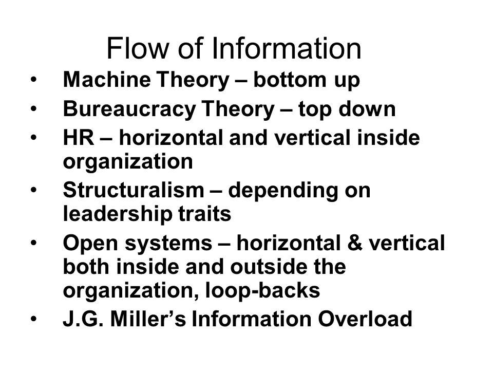 Flow of Information Machine Theory – bottom up Bureaucracy Theory – top down HR – horizontal and vertical inside organization Structuralism – dependin