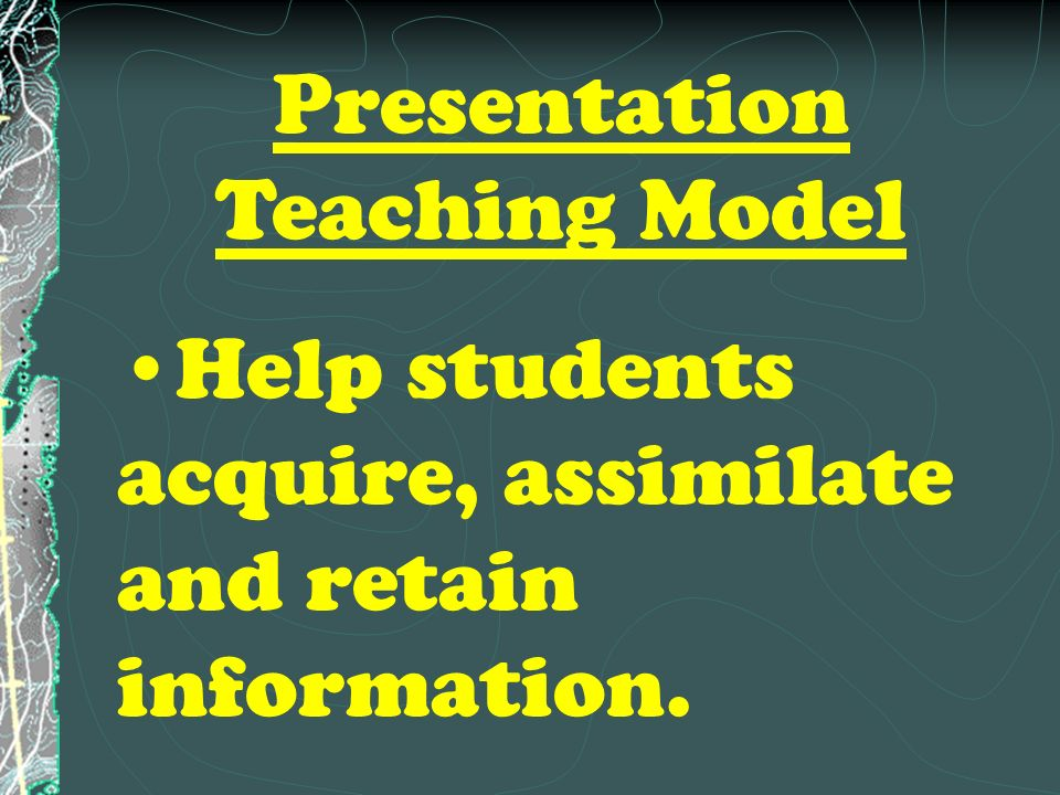 The Direct Instruction Model Promotes mastery of simple and complex skills and declarative knowledge that can be carefully defined and taught in a step by step lesson.