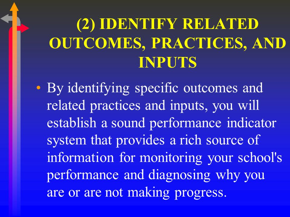 (2) IDENTIFY RELATED OUTCOMES, PRACTICES, AND INPUTS By identifying specific outcomes and related practices and inputs, you will establish a sound performance indicator system that provides a rich source of information for monitoring your school s performance and diagnosing why you are or are not making progress.