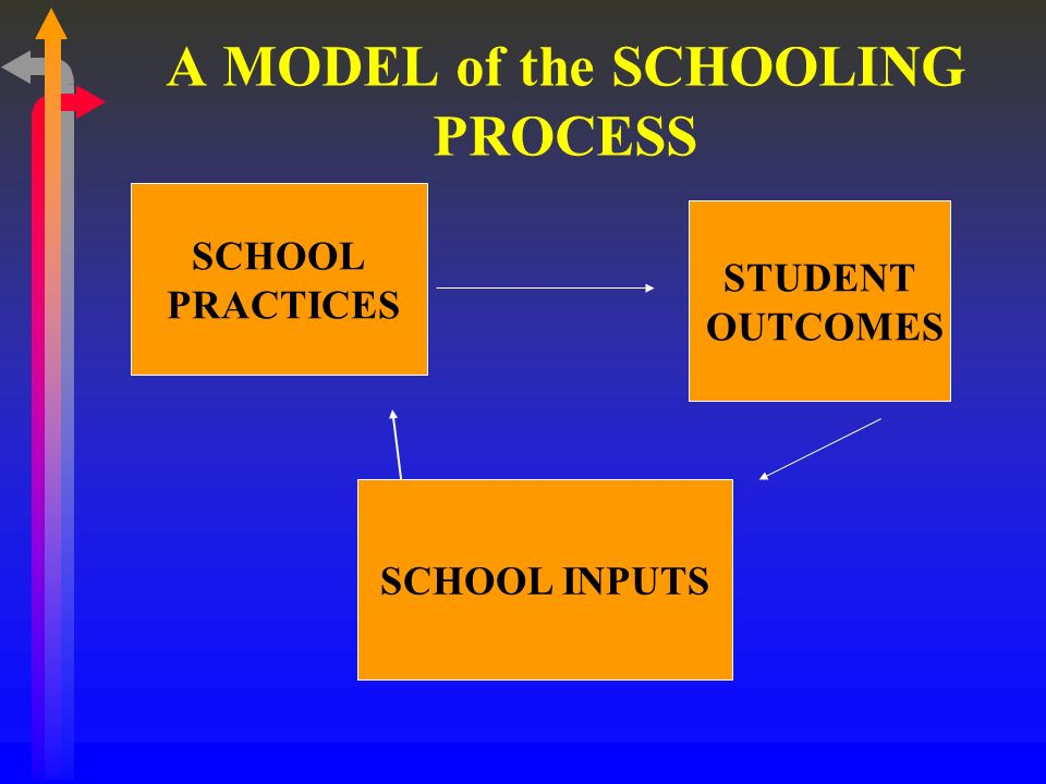A MODEL of the SCHOOLING PROCESS SCHOOL PRACTICES STUDENT OUTCOMES SCHOOL INPUTS