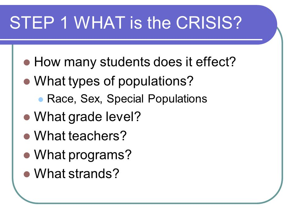 STEP 1 WHAT is the CRISIS. How many students does it effect.