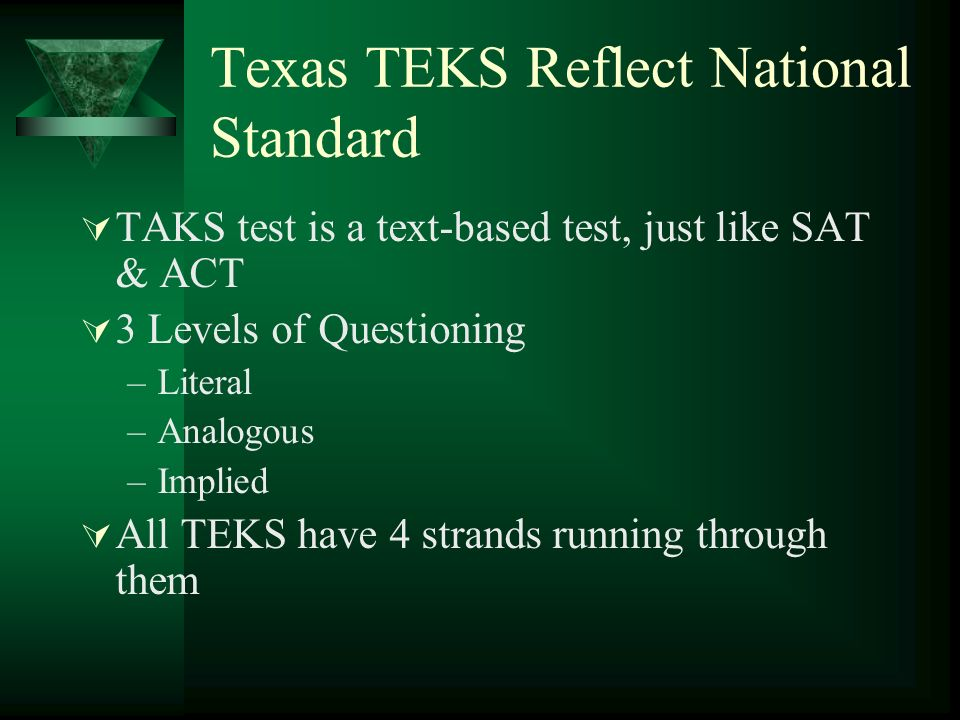 Texas TEKS Reflect National Standard TAKS test is a text-based test, just like SAT & ACT 3 Levels of Questioning –Literal –Analogous –Implied All TEKS have 4 strands running through them