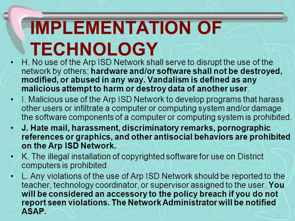 IMPLEMENTATION OF TECHNOLOGY H.