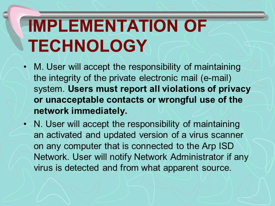 IMPLEMENTATION OF TECHNOLOGY M.