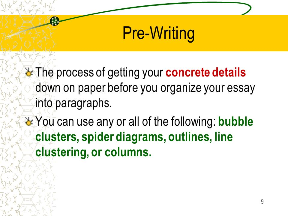 9 Pre-Writing The process of getting your concrete details down on paper before you organize your essay into paragraphs. You can use any or all of the
