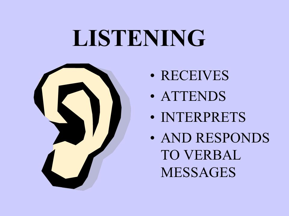 LISTENING RECEIVES ATTENDS INTERPRETS AND RESPONDS TO VERBAL MESSAGES