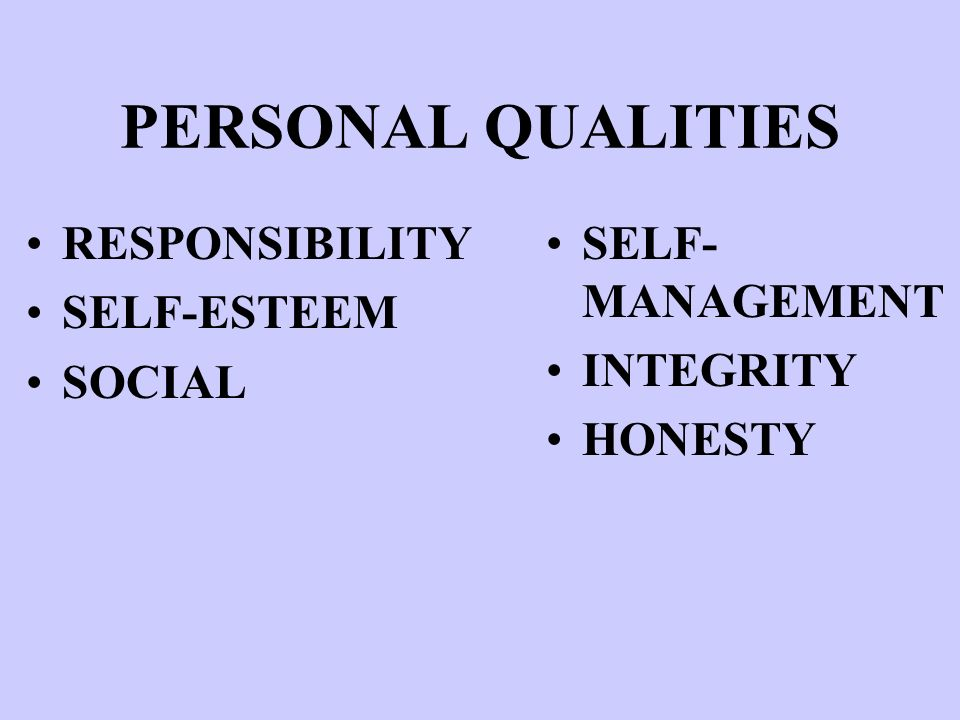 PERSONAL QUALITIES RESPONSIBILITY SELF-ESTEEM SOCIAL SELF- MANAGEMENT INTEGRITY HONESTY