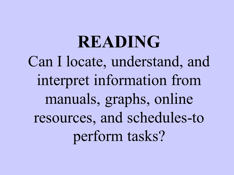 READING Can I locate, understand, and interpret information from manuals, graphs, online resources, and schedules-to perform tasks?
