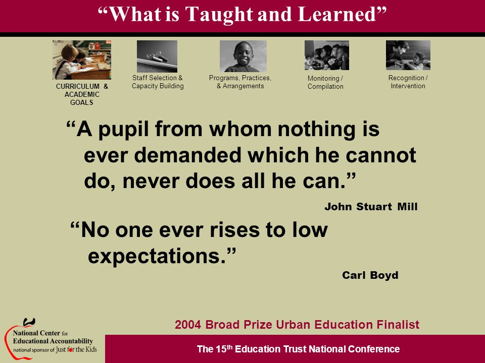 The 15 th Education Trust National Conference Programs, Practices, & Arrangements Staff Selection & Capacity Building CURRICULUM & ACADEMIC GOALS Monitoring / Compilation Recognition / Intervention 2004 Broad Prize Urban Education Finalist What is Taught and Learned A pupil from whom nothing is ever demanded which he cannot do, never does all he can.