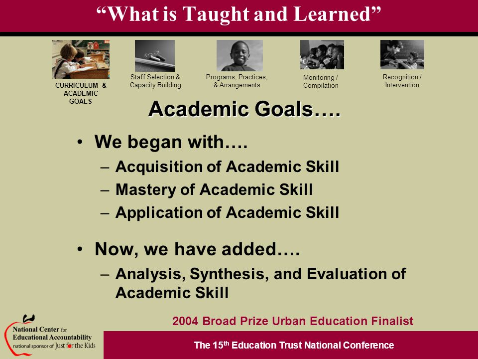 The 15 th Education Trust National Conference Programs, Practices, & Arrangements Staff Selection & Capacity Building CURRICULUM & ACADEMIC GOALS Monitoring / Compilation Recognition / Intervention 2004 Broad Prize Urban Education Finalist What is Taught and Learned We began with….