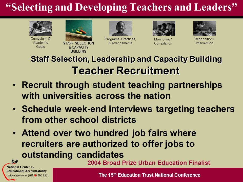 The 15 th Education Trust National Conference Programs, Practices, & Arrangements STAFF SELECTION & CAPACITY BUILDING Curriculum & Academic Goals Monitoring / Compilation Recognition / Intervention 2004 Broad Prize Urban Education Finalist Selecting and Developing Teachers and Leaders Teacher Recruitment Recruit through student teaching partnerships with universities across the nation Schedule week-end interviews targeting teachers from other school districts Attend over two hundred job fairs where recruiters are authorized to offer jobs to outstanding candidates Staff Selection, Leadership and Capacity Building