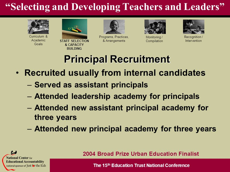 The 15 th Education Trust National Conference Programs, Practices, & Arrangements STAFF SELECTION & CAPACITY BUILDING Curriculum & Academic Goals Monitoring / Compilation Recognition / Intervention 2004 Broad Prize Urban Education Finalist Selecting and Developing Teachers and Leaders Principal Recruitment Recruited usually from internal candidates –Served as assistant principals –Attended leadership academy for principals –Attended new assistant principal academy for three years –Attended new principal academy for three years