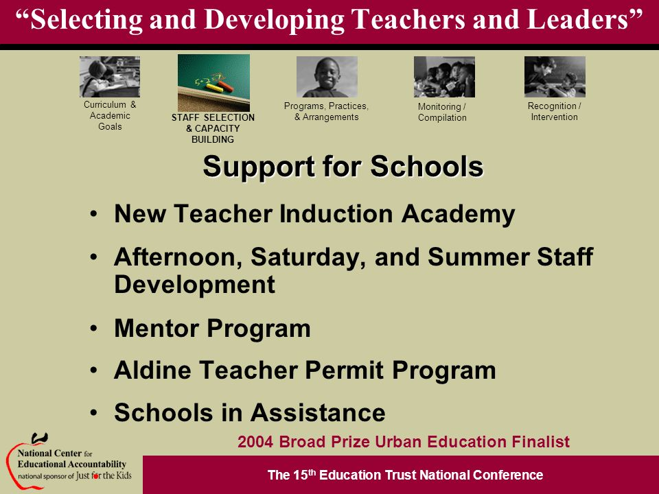 The 15 th Education Trust National Conference Programs, Practices, & Arrangements STAFF SELECTION & CAPACITY BUILDING Curriculum & Academic Goals Monitoring / Compilation Recognition / Intervention 2004 Broad Prize Urban Education Finalist Selecting and Developing Teachers and Leaders Support for Schools New Teacher Induction Academy Afternoon, Saturday, and Summer Staff Development Mentor Program Aldine Teacher Permit Program Schools in Assistance