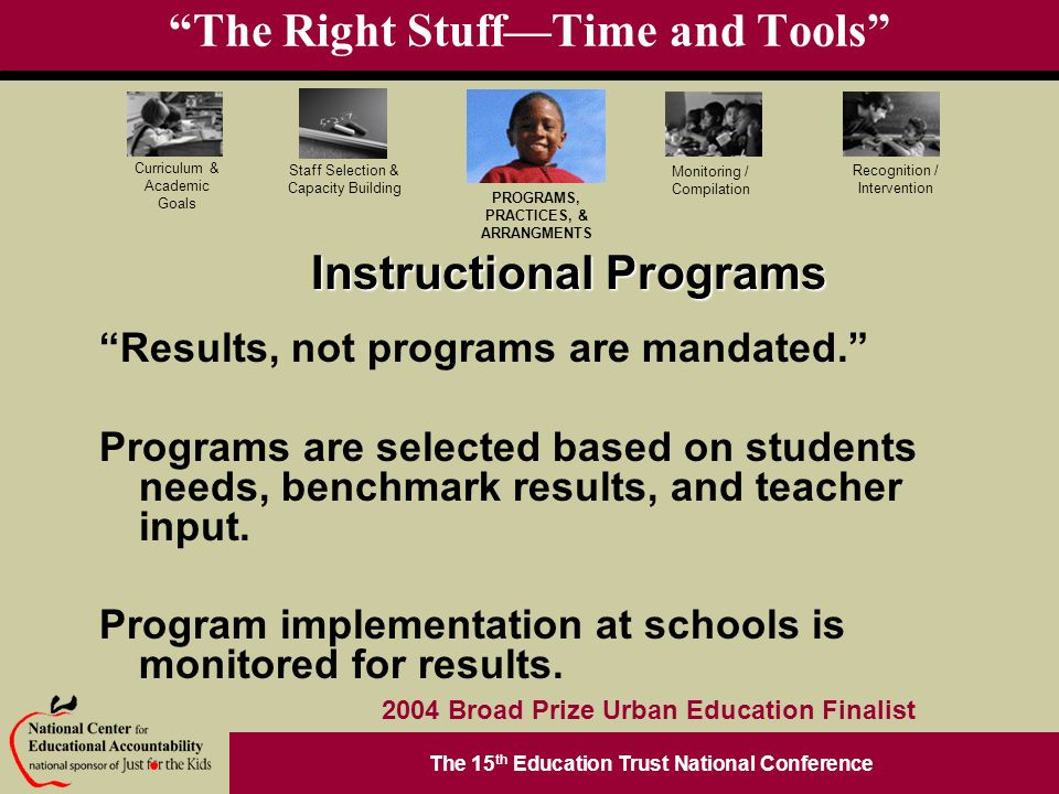 The 15 th Education Trust National Conference PROGRAMS, PRACTICES, & ARRANGMENTS Staff Selection & Capacity Building Curriculum & Academic Goals Monitoring / Compilation Recognition / Intervention 2004 Broad Prize Urban Education Finalist The Right StuffTime and Tools Results, not programs are mandated.