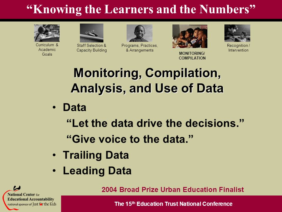 The 15 th Education Trust National Conference Programs, Practices, & Arrangements Staff Selection & Capacity Building Curriculum & Academic Goals MONITORING/ COMPILATION Recognition / Intervention 2004 Broad Prize Urban Education Finalist Knowing the Learners and the Numbers Data Let the data drive the decisions.
