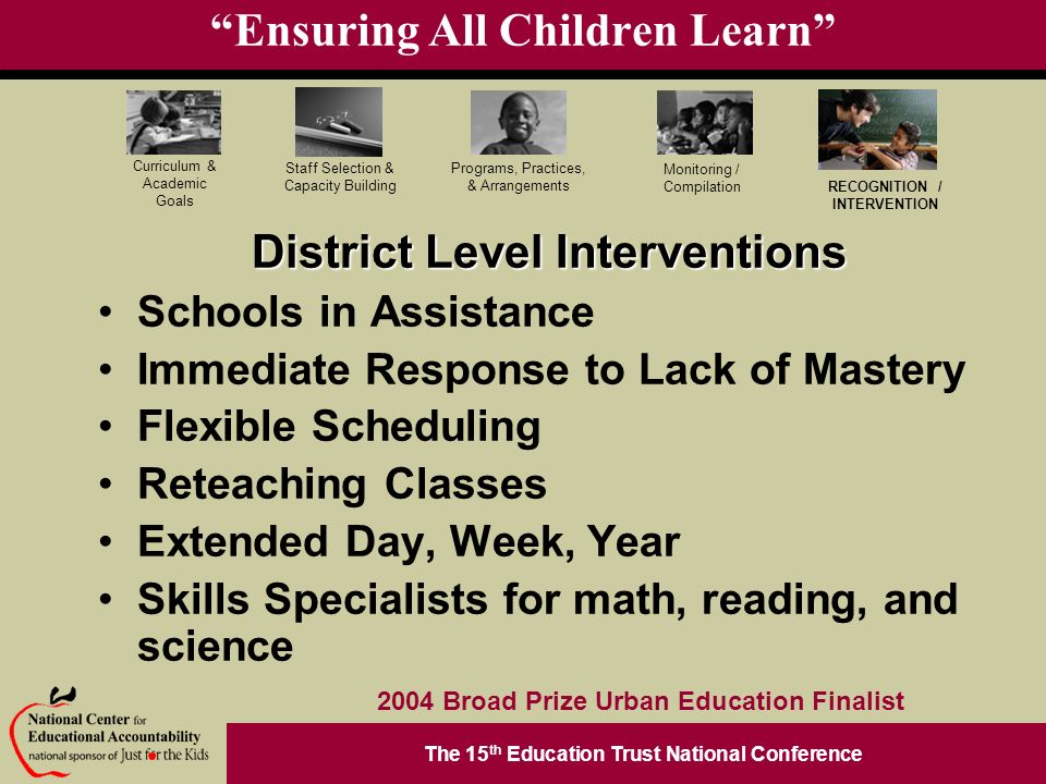 The 15 th Education Trust National Conference Programs, Practices, & Arrangements Staff Selection & Capacity Building Curriculum & Academic Goals Monitoring / Compilation RECOGNITION / INTERVENTION 2004 Broad Prize Urban Education Finalist Ensuring All Children Learn District Level Interventions Schools in Assistance Immediate Response to Lack of Mastery Flexible Scheduling Reteaching Classes Extended Day, Week, Year Skills Specialists for math, reading, and science