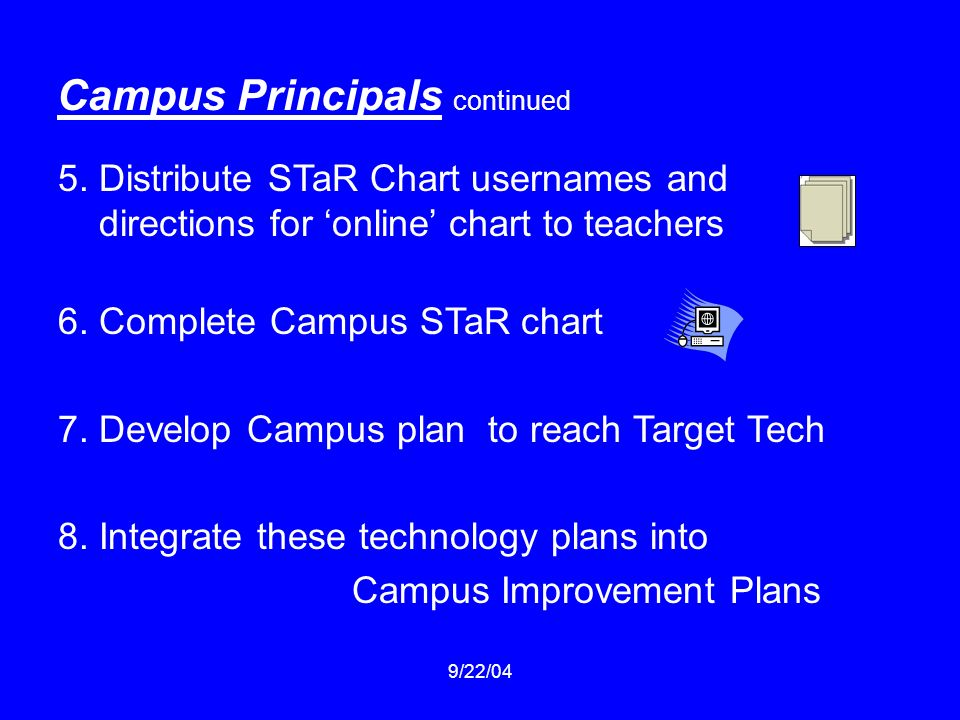 9/22/04 Campus Principals continued 5. Distribute STaR Chart usernames and directions for online chart to teachers 6. Complete Campus STaR chart 7. De