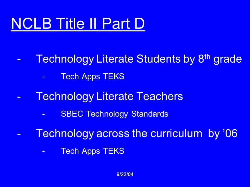 9/22/04 NCLB Title II Part D -Technology Literate Students by 8 th grade -Tech Apps TEKS -Technology Literate Teachers -SBEC Technology Standards -Tec