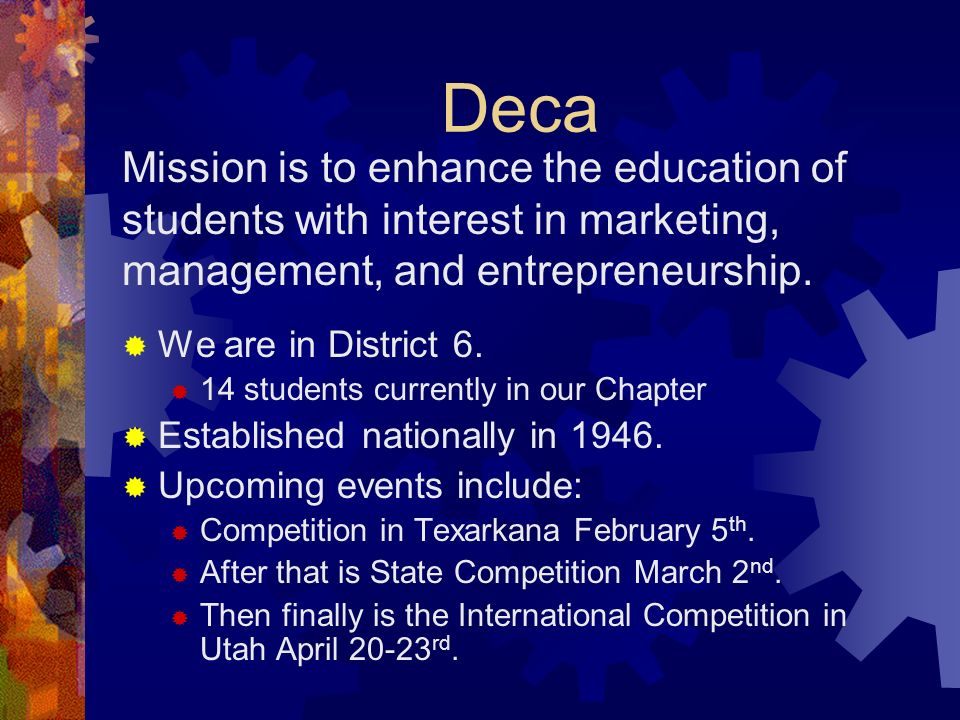Organizations We have a wide field of Clubs at Arp. Deca NHS FCA FFA Yearbook Tiger Vision