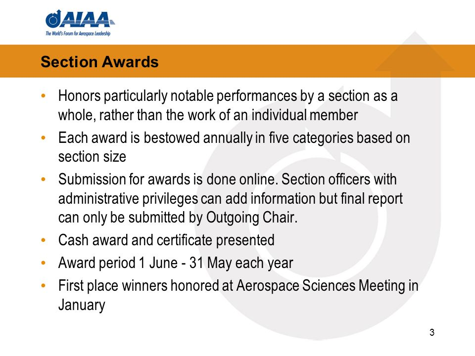 3 Section Awards Honors particularly notable performances by a section as a whole, rather than the work of an individual member Each award is bestowed