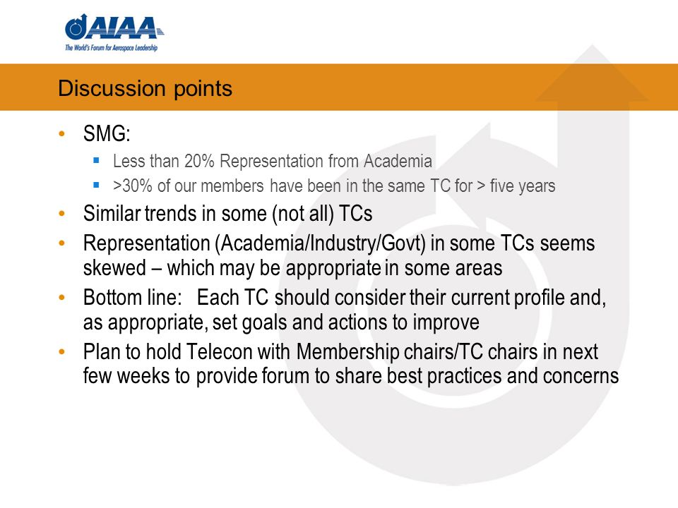 Discussion points SMG: Less than 20% Representation from Academia >30% of our members have been in the same TC for > five years Similar trends in some (not all) TCs Representation (Academia/Industry/Govt) in some TCs seems skewed – which may be appropriate in some areas Bottom line: Each TC should consider their current profile and, as appropriate, set goals and actions to improve Plan to hold Telecon with Membership chairs/TC chairs in next few weeks to provide forum to share best practices and concerns